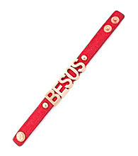 BCBGeneration™ Red Canvas and Rose Goldtone Besos Affirmation Bracelet