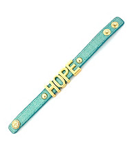 BCBGeneration™ Light Blue Canvas and Goldtone Hope Affirmation Bracelet
