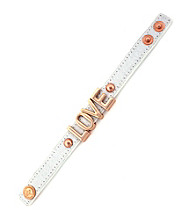 BCBGeneration™ White Canvas and Rose Goldtone Love Affirmation Bracelet