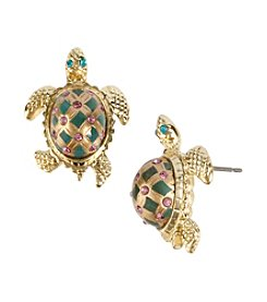 Betsey Johnson® Green/Goldtone Turtle Stud Earrings