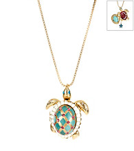 Betsey Johnson® Green Turtle Pendant Long Necklace