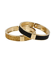 Betsey Johnson® Black & Goldtone Glitter Hinged Bangle Bracelet Set