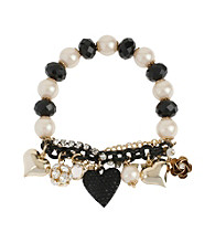 Betsey Johnson® Black Heart Multi Charm Half Stretch Bracelet