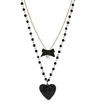 Betsey Johnson® Black Heart & Bow Two Row Necklace
