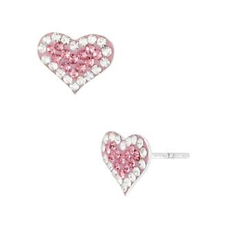 Betsey Johnson® Pink Pave Heart Stud Earrings