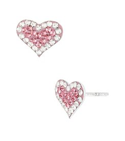 Betsey Johnson® Pink Pave Heart Stud Earrings