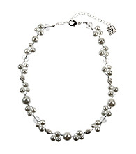 Anne Klein® Silvertone and Pearl Collar Necklace