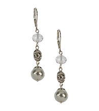 Anne Klein® Silvertone and Pearl Drop Earrings