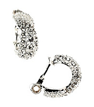 Anne Klein® Silvertone and Crystal Clip Earrings