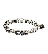 Anne Klein® Silvertone and Crystal Stretch Bracelet