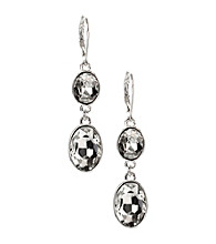 Anne Klein® Silvertone and Crystal Drop Earrings