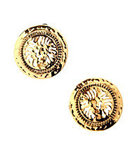 Anne Klein® Goldtone Lion Clip Earrings