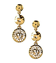 Anne Klein® Goldtone Lion Drop Earrings