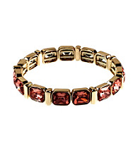Anne Klein® Goldtone and Rose Peach Stretch Bracelet