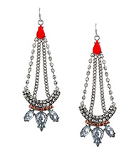 Jessica Simpson Tropic Nights Silvertone and Orange Chandelier Earrings
