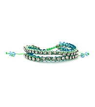 Jessica Simpson Tropic Nights Silvertone, Green and Blue Bracelet