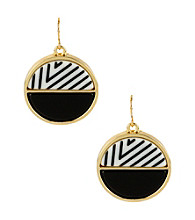 Kenneth Cole® Black Multi Striped Circle Drop Earrings