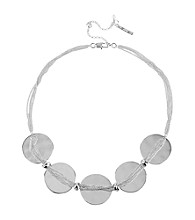 Kenneth Cole® Silvertone Circle and Multi Chain Frontal Necklace