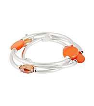 Kenneth Cole® Coral Shell Circle and Silvertone Stretch Bracelet Set