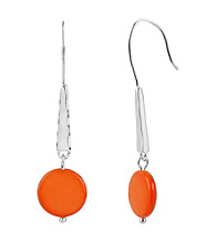 Kenneth Cole® Coral Shell Circle Long Drop Earrings