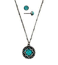 Nine West Vintage America Collection® Turquoise Pendant Necklace and Stud Earrings Set