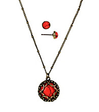 Nine West Vintage America Collection® Coral Pendant Necklace and Stud Earrings Set