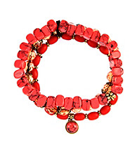 Nine West Vintage America Collection® Set of Three Coral Stretch Bracelets