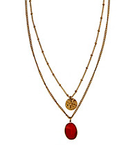 Nine West Vintage America Collection® Adjustable Antique Goldtone Double Pendant Necklace