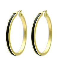 Jill Zarin Black Leather Hoop Earrings with 14K Gold Plating