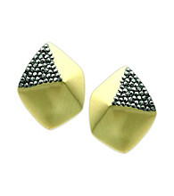 Jill Zarin Jet Hematite/Goldtone Facet Earrings with Pave Detail