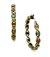 Jill Zarin Red & Turquoise Enamel Evil Eye Hoop Earrings