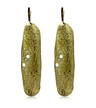 Jill Zarin Hamptons Collection Elongated Hammered Metal Drop Earrings with Crystal Accents