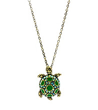 Jill Zarin Green Enamel & Olivine Crystal Turtle Pendant Necklace