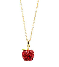 Jill Zarin Red Enamel & Siam Crystal Apple Pendant Necklace