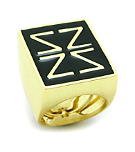 Jill Zarin Black Enamel with 14K Gold Plating Logo Ring