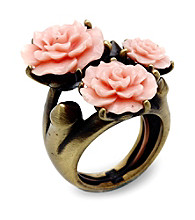 Jill Zarin Pink Resin Triple Rose Ring