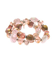 L&J Accessories Two Pink Shell Murano Stretch Bracelets
