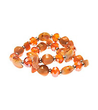 L&J Accessories Two Orange Shell Murano Stretch Bracelets