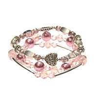 L&J Accessories Three Pink Pearl and Glass Stretch Bracelets