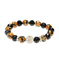 L&J Accessories Pave Fireball Glass Animal Print Agate Bracelet