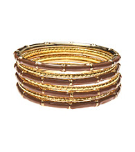 L&J Accessories Seven Row Brown Epoxy Bangles