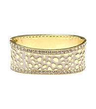L&J Accessories White Enamel Crystal Inlay Bangle