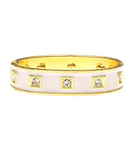 L&J Accessories White Enamel Crystal Bangle