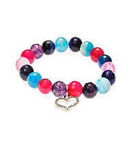 L&J Accessories Pave Heart Charm Multi Colored Glass Agate Stretch Bracelet