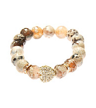 L&J Accessories Pave Heart Multi Colored Brown Glass Agate Stretch Bracelet