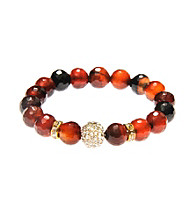 L&J Accessories Brown Topaz Glass Agate Stretch Bead Bracelet with Pave Fireball
