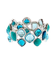 Napier® Silvertone and Blue Multi Colored Stretch Bracelet