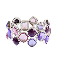 Napier® Silvertone and Purple Multi Colored Stretch Bracelet