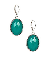 Napier® Silvertone and Blue Multi Colored Leverback Drop Pierced Earrings