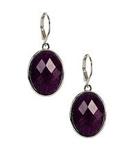 Napier® Silvertone and Purple Multi Colored Leverback Drop Pierced Earrings